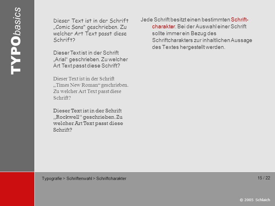 Typografie > Schriftenwahl > Schriftcharakter
