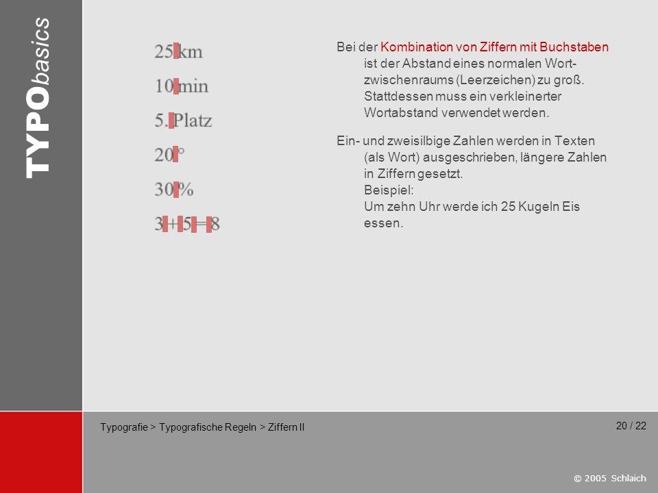 Typografie > Typografische Regeln > Ziffern II