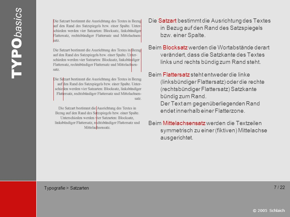 Typografie > Satzarten
