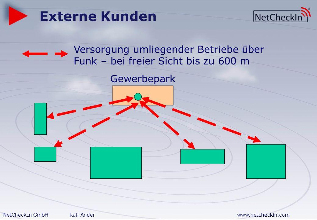 Externe Kunden Versorgung umliegender Betriebe über Funk – bei freier Sicht bis zu 600 m.