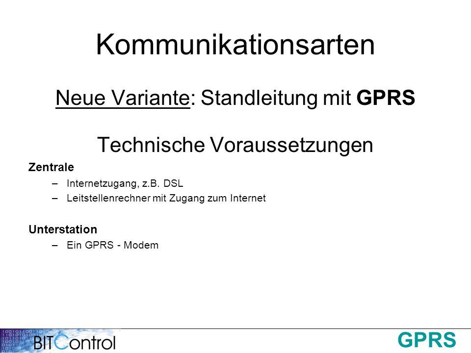 Kommunikationsarten Neue Variante: Standleitung mit GPRS