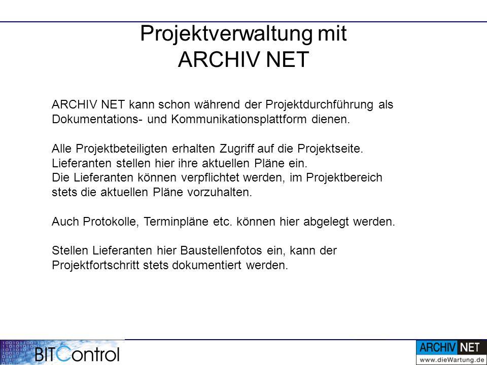 Projektverwaltung mit ARCHIV NET