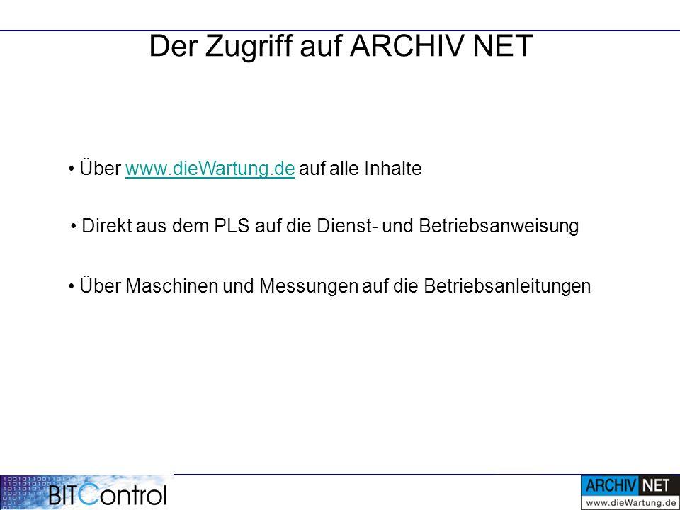 Der Zugriff auf ARCHIV NET