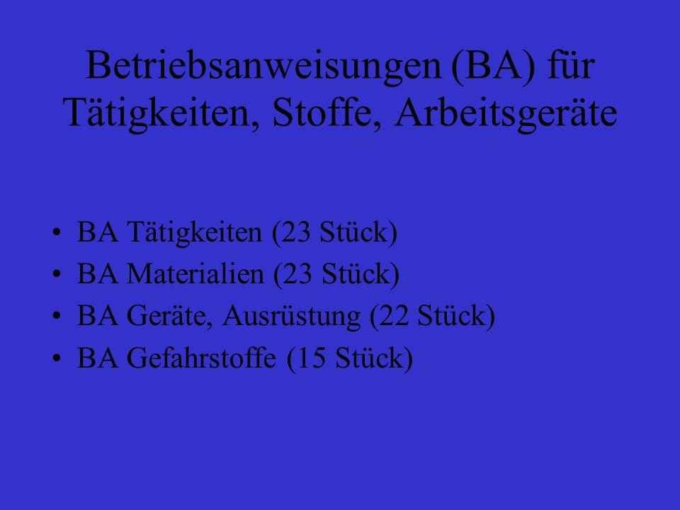 Betriebsanweisungen (BA) für Tätigkeiten, Stoffe, Arbeitsgeräte