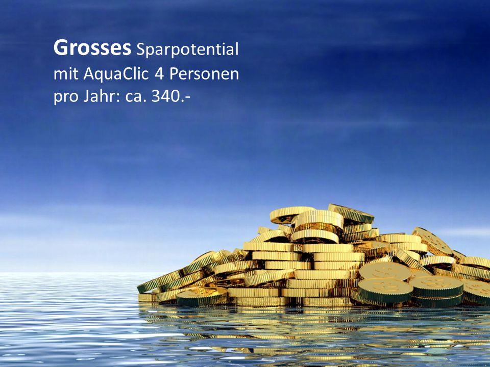 Grosses Sparpotential mit AquaClic 4 Personen pro Jahr: ca. 340.-