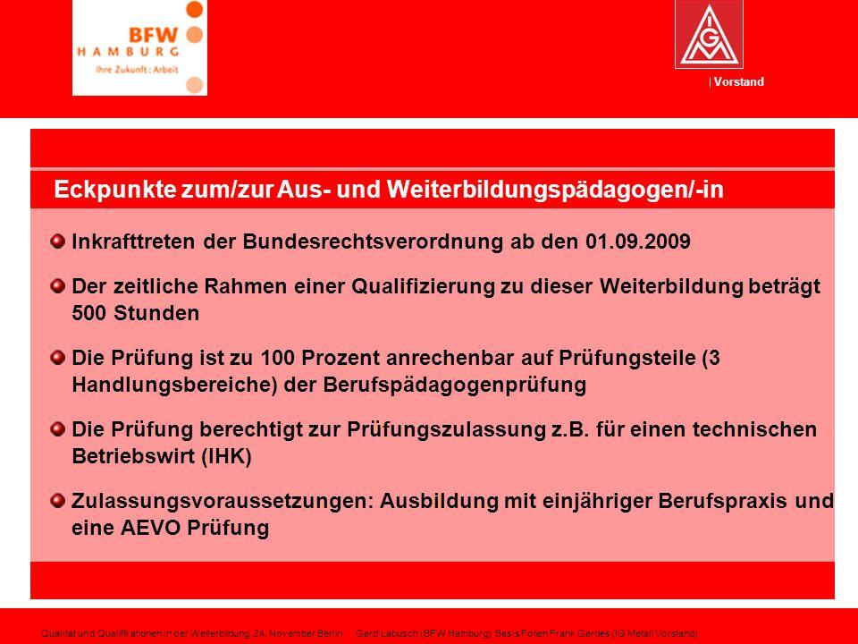 Eckpunkte zum/zur Aus- und Weiterbildungspädagogen/-in