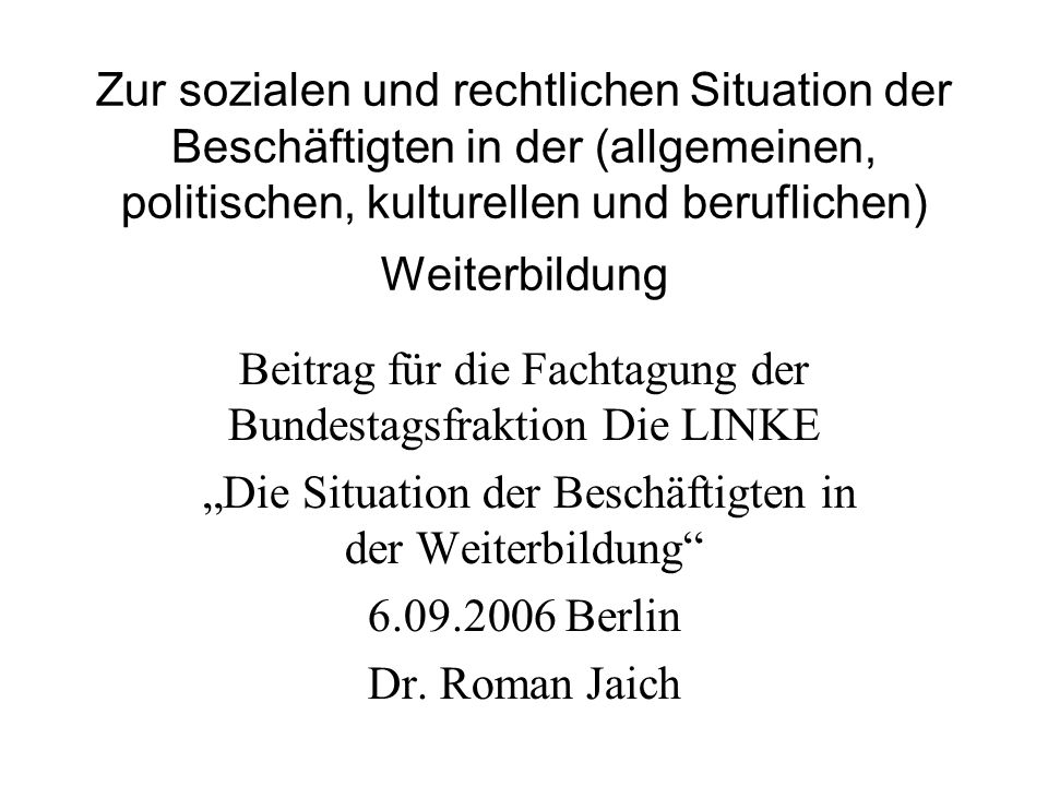 Beitrag für die Fachtagung der Bundestagsfraktion Die LINKE