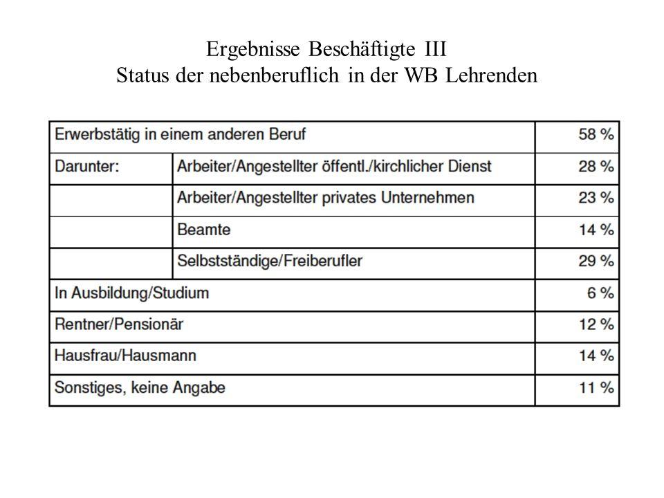 Ergebnisse Beschäftigte III Status der nebenberuflich in der WB Lehrenden