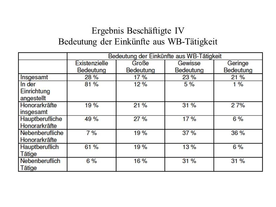 Ergebnis Beschäftigte IV Bedeutung der Einkünfte aus WB-Tätigkeit