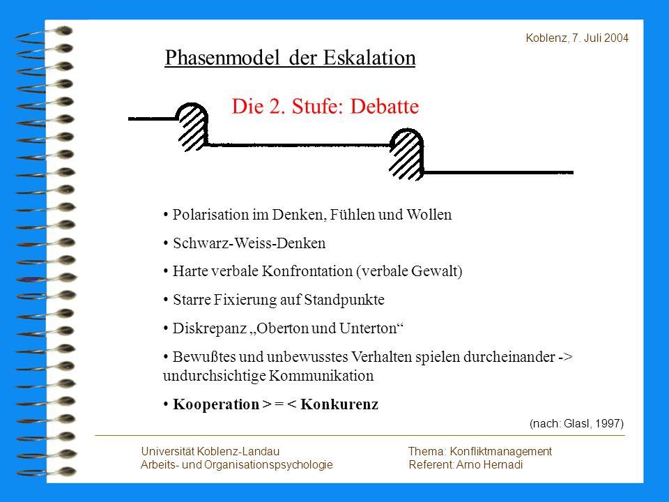 Phasenmodel der Eskalation Die 2. Stufe: Debatte