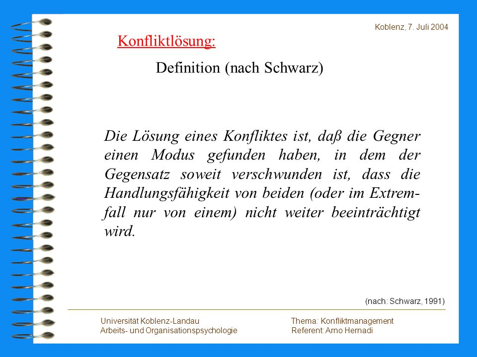 Definition (nach Schwarz)