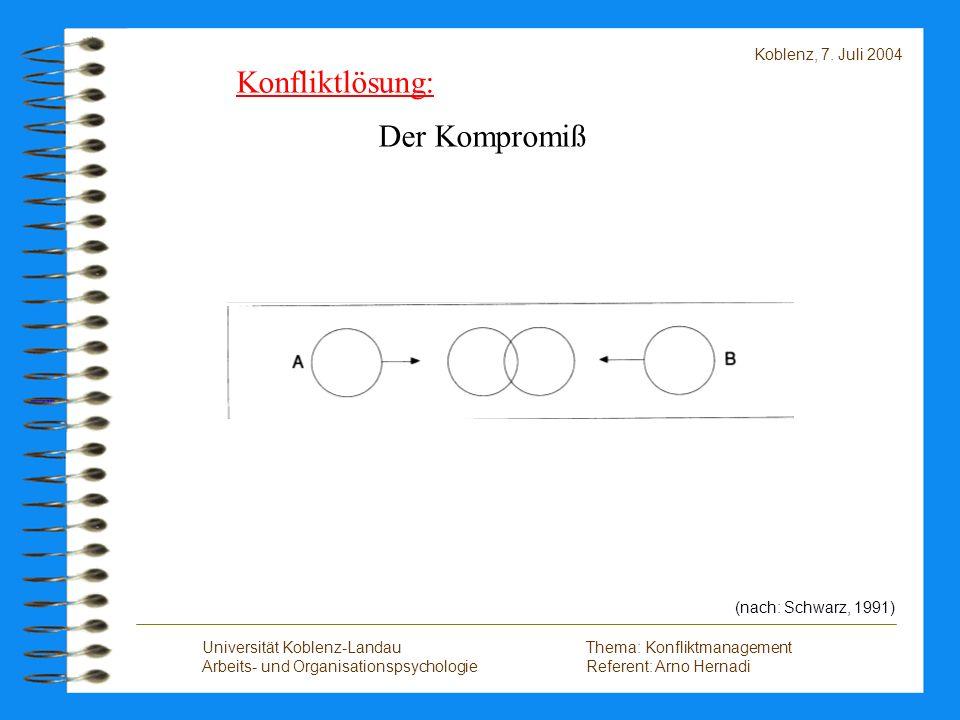 Konfliktlösung: Der Kompromiß Koblenz, 7. Juli 2004