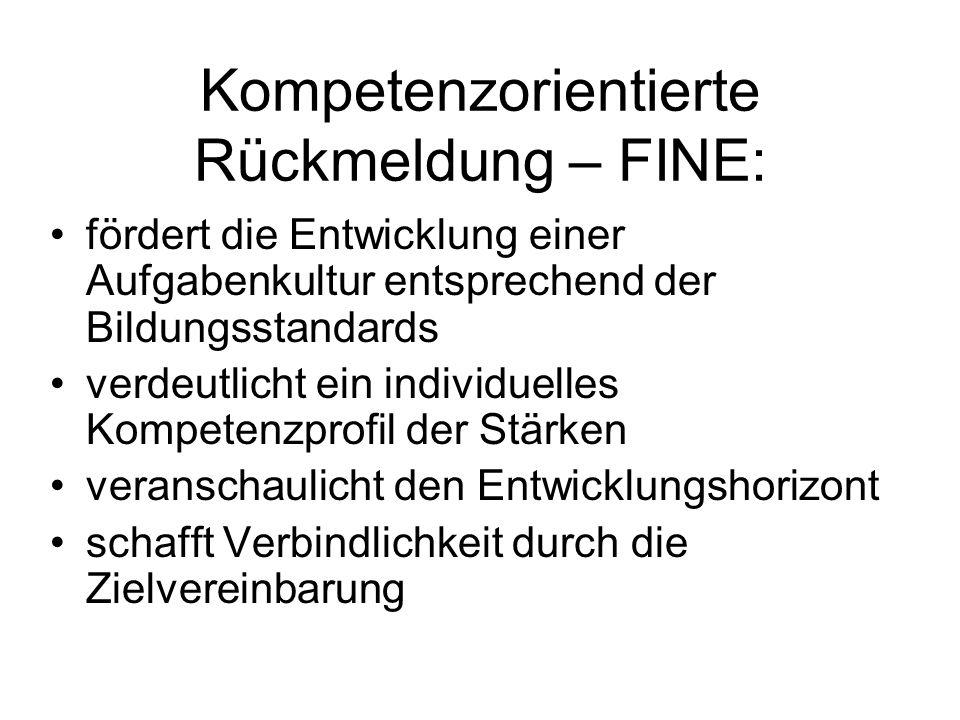 Kompetenzorientierte Rückmeldung – FINE: