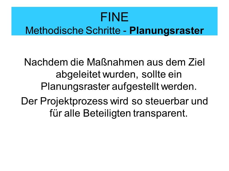 FINE Methodische Schritte - Planungsraster