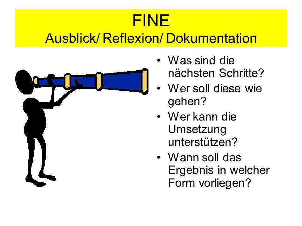 FINE Ausblick/ Reflexion/ Dokumentation
