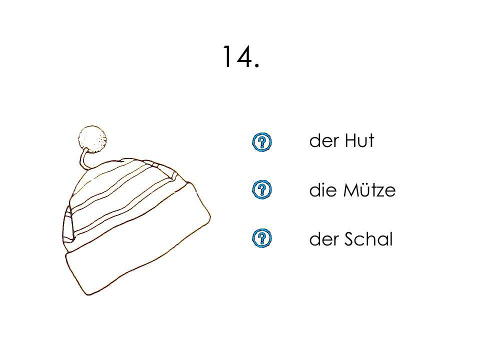 14. der Hut die Mütze der Schal 