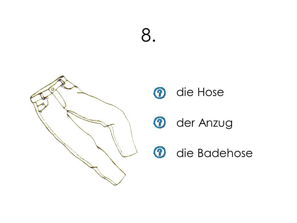 8. die Hose der Anzug die Badehose 