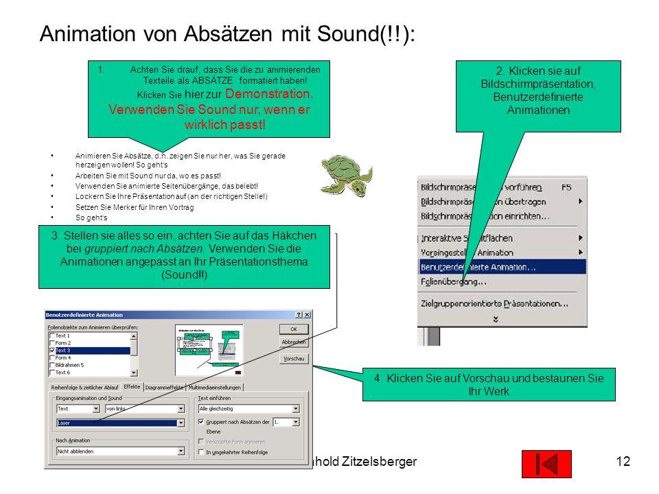 Animation von Absätzen mit Sound(!!):