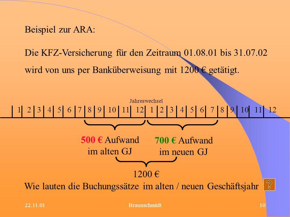 Die KFZ-Versicherung für den Zeitraum 01.08.01 bis 31.07.02
