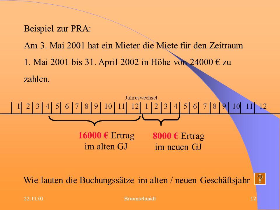 Am 3. Mai 2001 hat ein Mieter die Miete für den Zeitraum