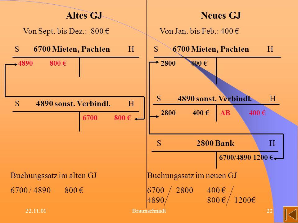 Altes GJ Neues GJ Von Sept. bis Dez.: 800 € Von Jan. bis Feb.: 400 €
