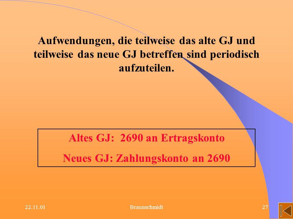 Altes GJ: 2690 an Ertragskonto Neues GJ: Zahlungskonto an 2690
