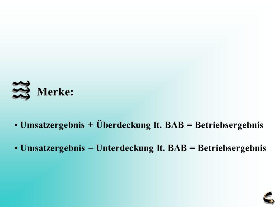 Merke: Umsatzergebnis – Unterdeckung lt. BAB = Betriebsergebnis