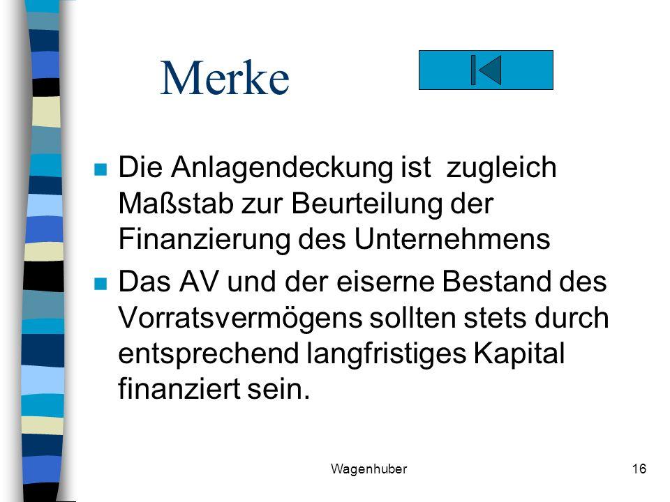 Merke Die Anlagendeckung ist zugleich Maßstab zur Beurteilung der Finanzierung des Unternehmens.