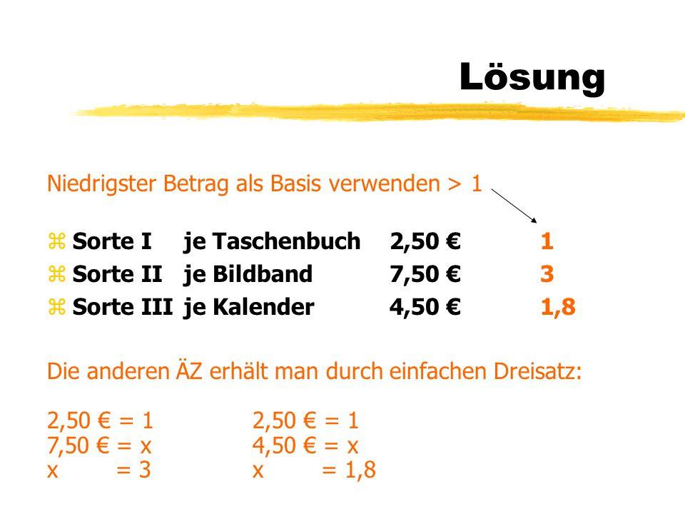Lösung Niedrigster Betrag als Basis verwenden > 1