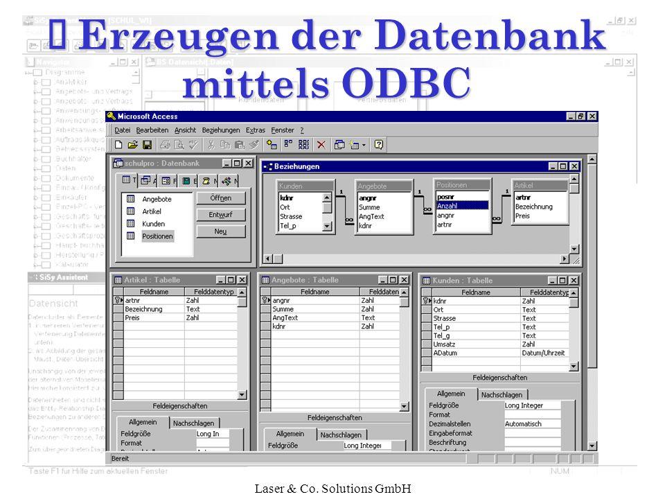 Í Erzeugen der Datenbank mittels ODBC