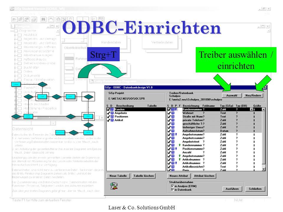ODBC-Einrichten Strg+T Treiber auswählen / einrichten