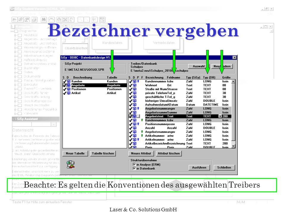 Bezeichner vergeben Beachte: Es gelten die Konventionen des ausgewählten Treibers.