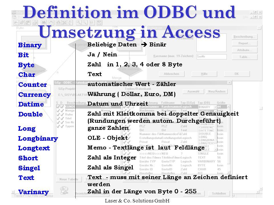 Definition im ODBC und Umsetzung in Access