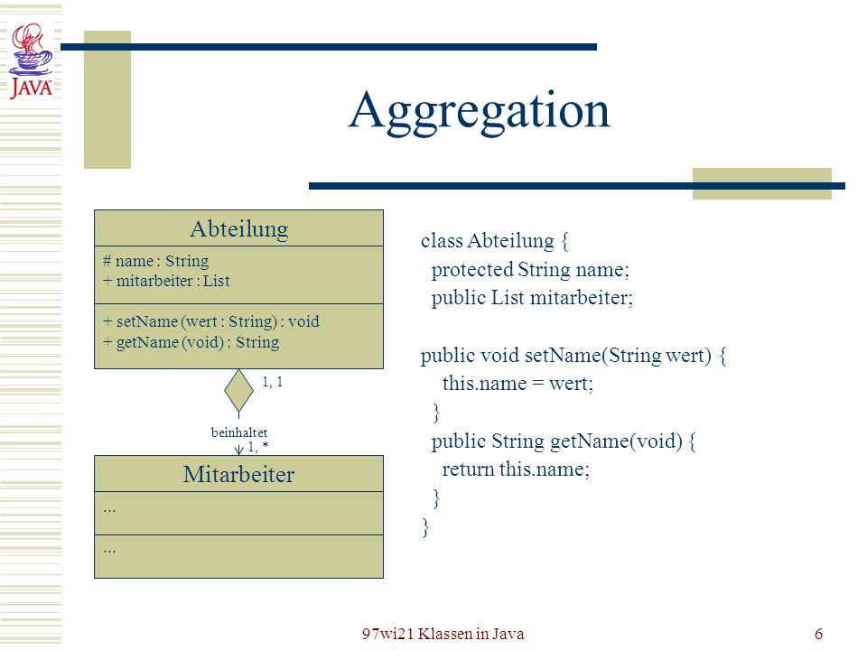 Aggregation Abteilung Mitarbeiter class Abteilung {