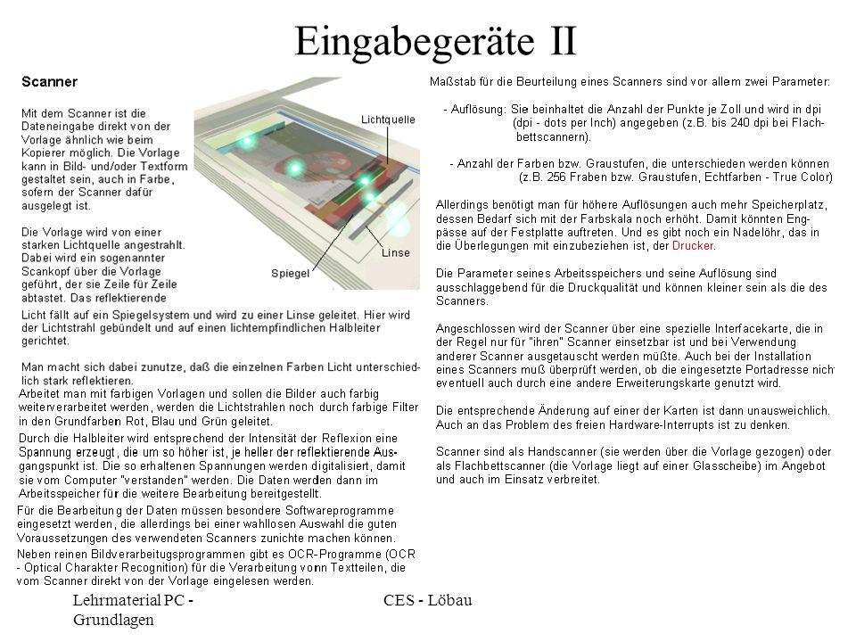 Eingabegeräte II Lehrmaterial PC - Grundlagen CES - Löbau