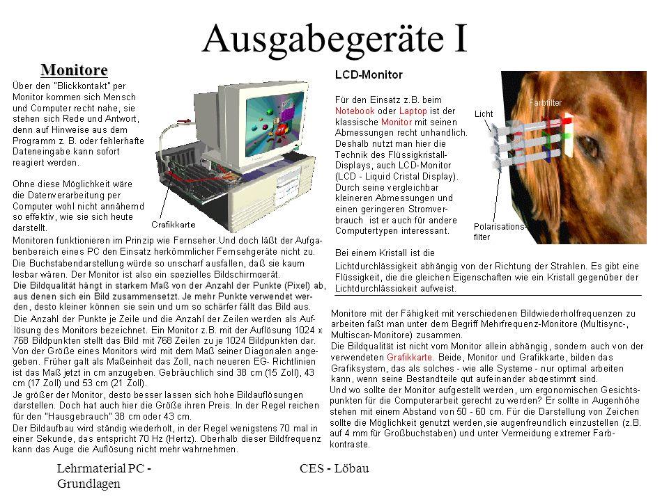Ausgabegeräte I Monitore Lehrmaterial PC - Grundlagen CES - Löbau