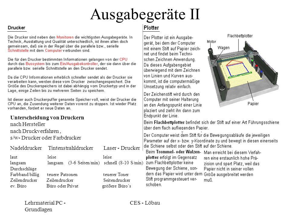 Ausgabegeräte II Unterscheidung von Druckern nach Hersteller nach Druckverfahren , s/w- Drucker oder Farbdrucker.