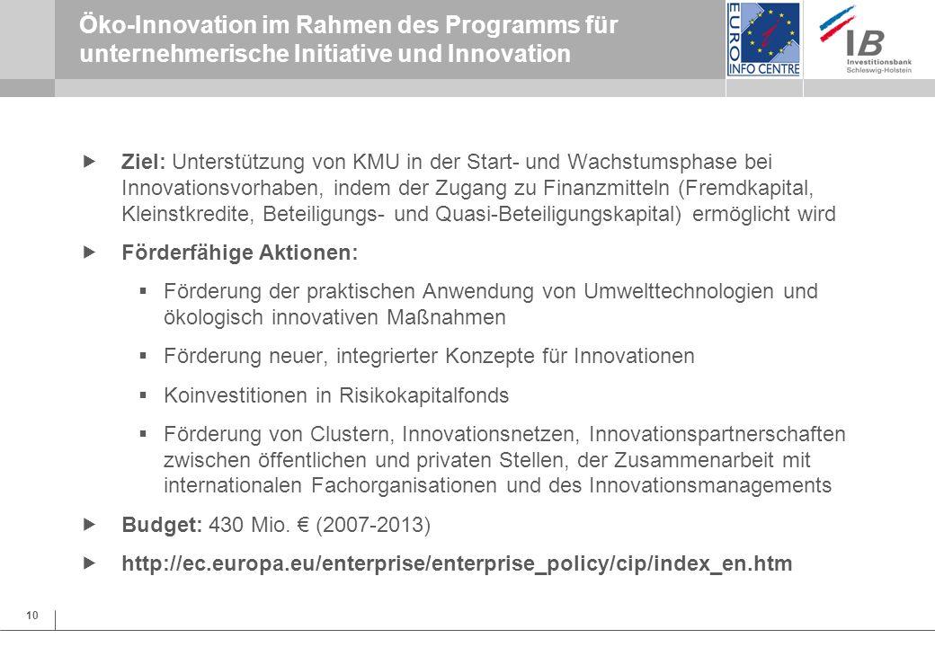 Öko-Innovation im Rahmen des Programms für unternehmerische Initiative und Innovation