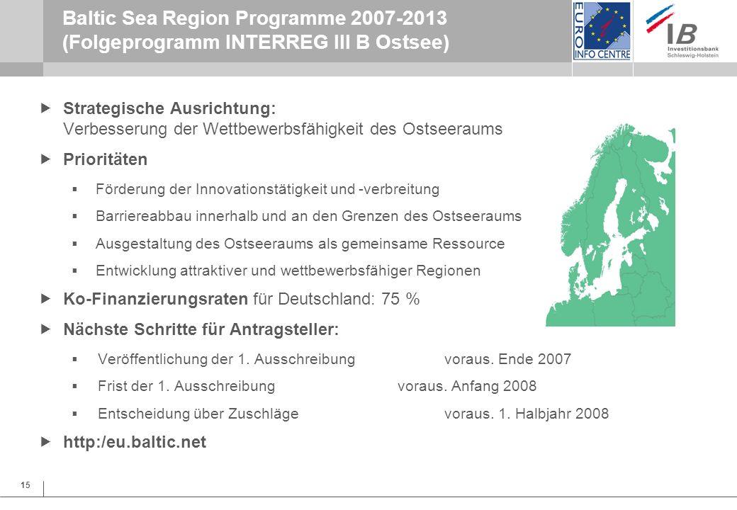Baltic Sea Region Programme 2007-2013 (Folgeprogramm INTERREG III B Ostsee)