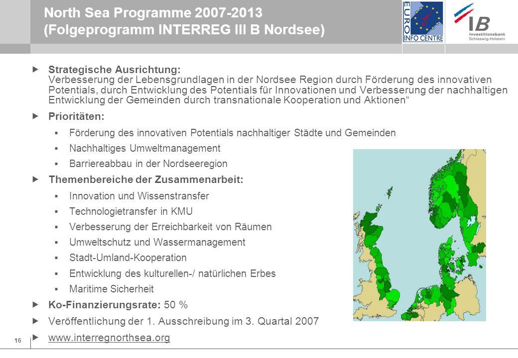 North Sea Programme 2007-2013 (Folgeprogramm INTERREG III B Nordsee)