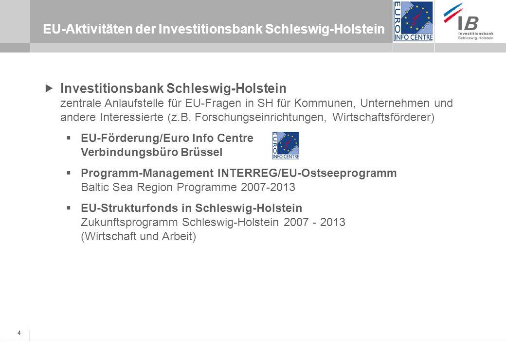 EU-Aktivitäten der Investitionsbank Schleswig-Holstein
