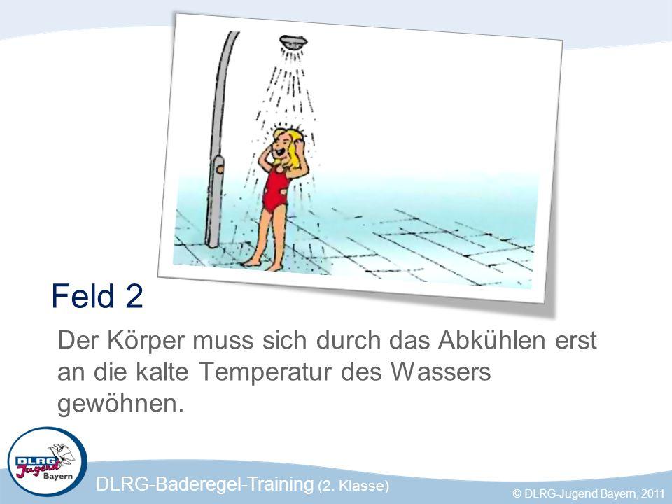 Feld 2 Der Körper muss sich durch das Abkühlen erst an die kalte Temperatur des Wassers gewöhnen.
