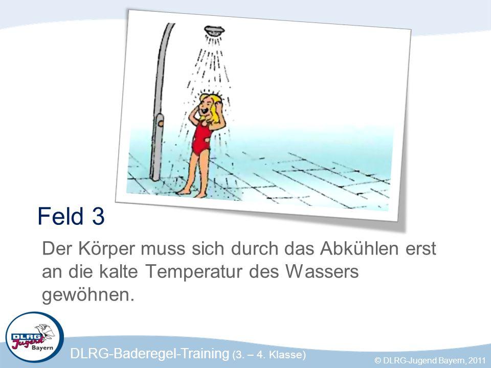 Feld 3 Der Körper muss sich durch das Abkühlen erst an die kalte Temperatur des Wassers gewöhnen.