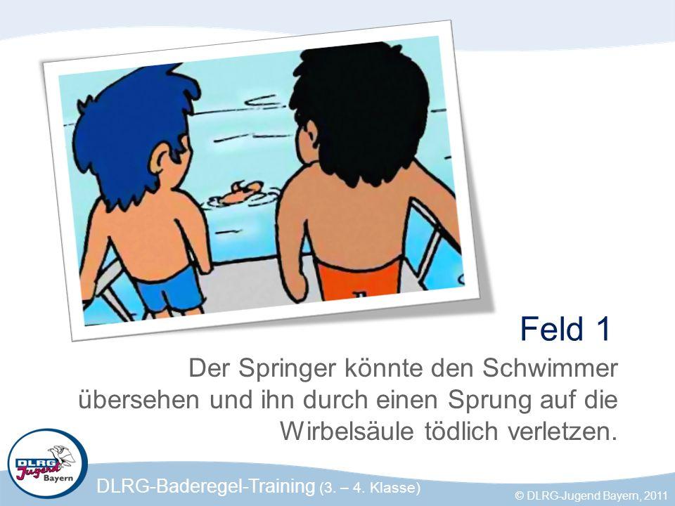Feld 1 Der Springer könnte den Schwimmer übersehen und ihn durch einen Sprung auf die Wirbelsäule tödlich verletzen.