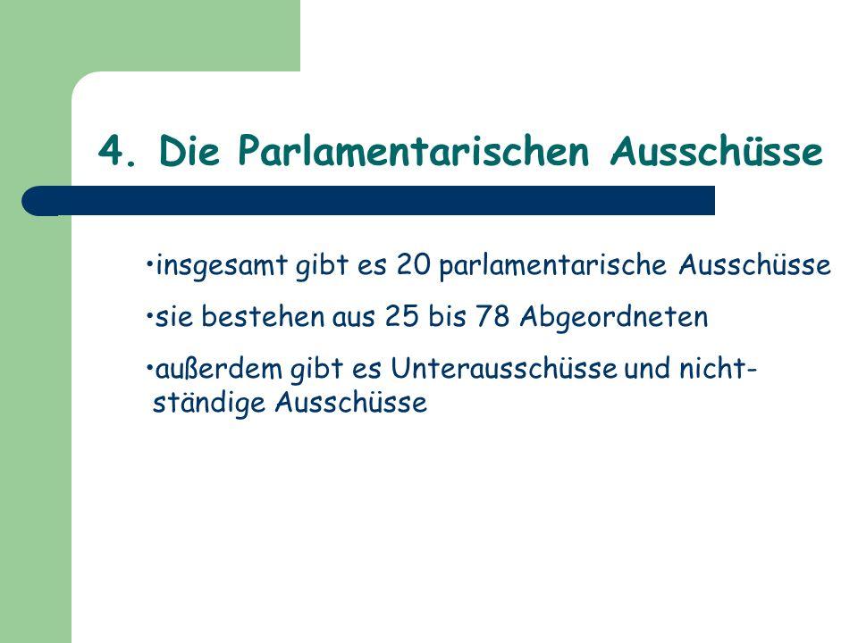4. Die Parlamentarischen Ausschüsse