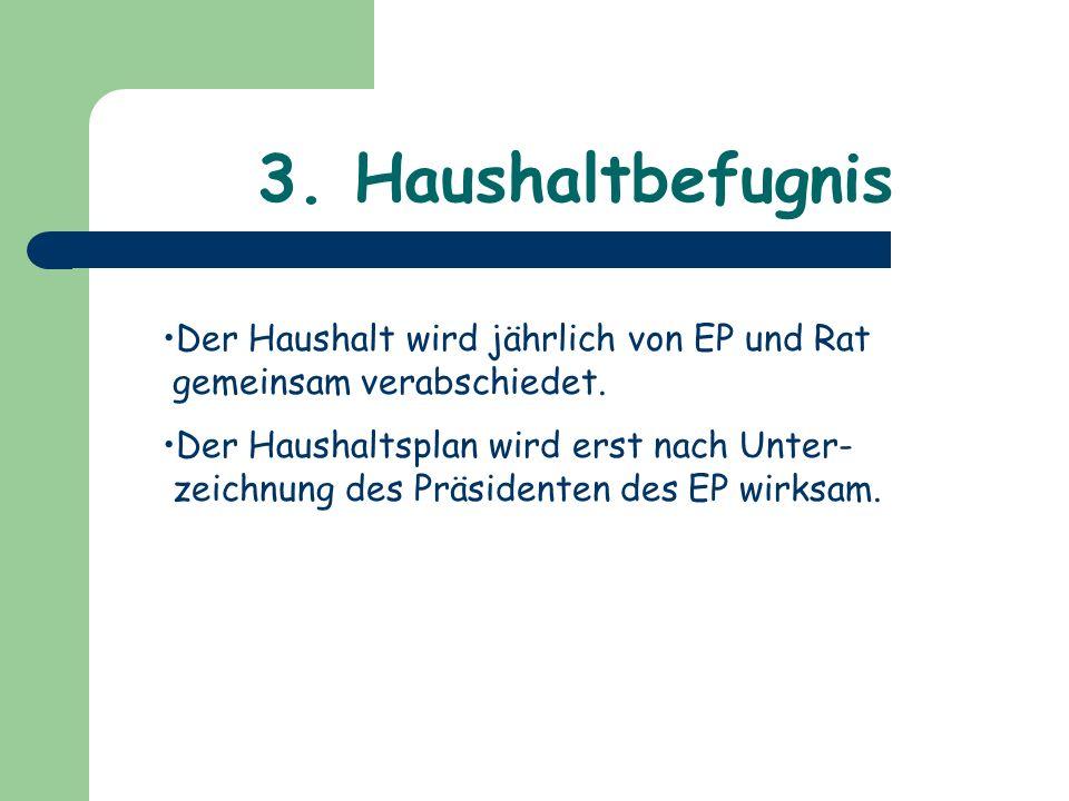 3. Haushaltbefugnis Der Haushalt wird jährlich von EP und Rat gemeinsam verabschiedet.