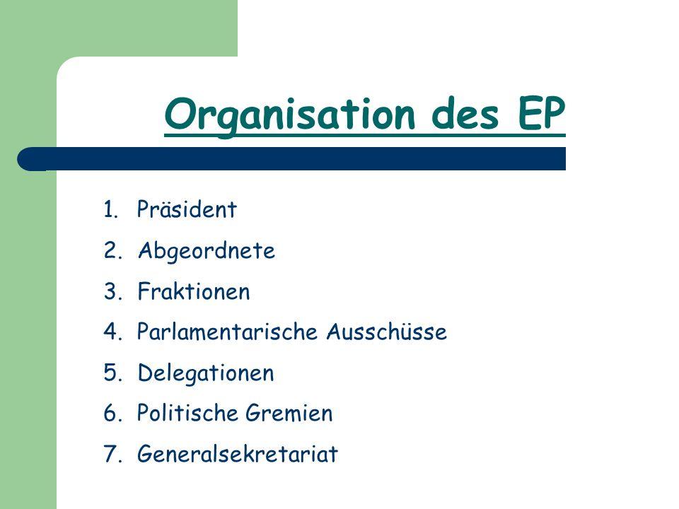 Organisation des EP Präsident Abgeordnete Fraktionen