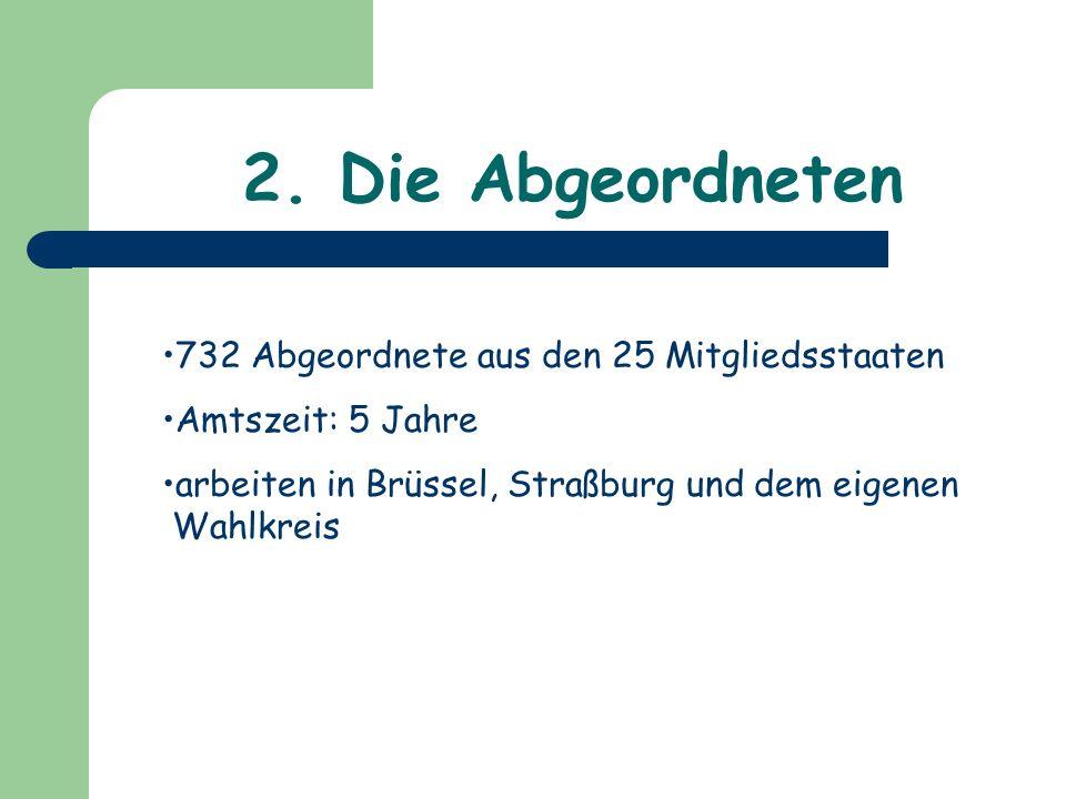 2. Die Abgeordneten 732 Abgeordnete aus den 25 Mitgliedsstaaten