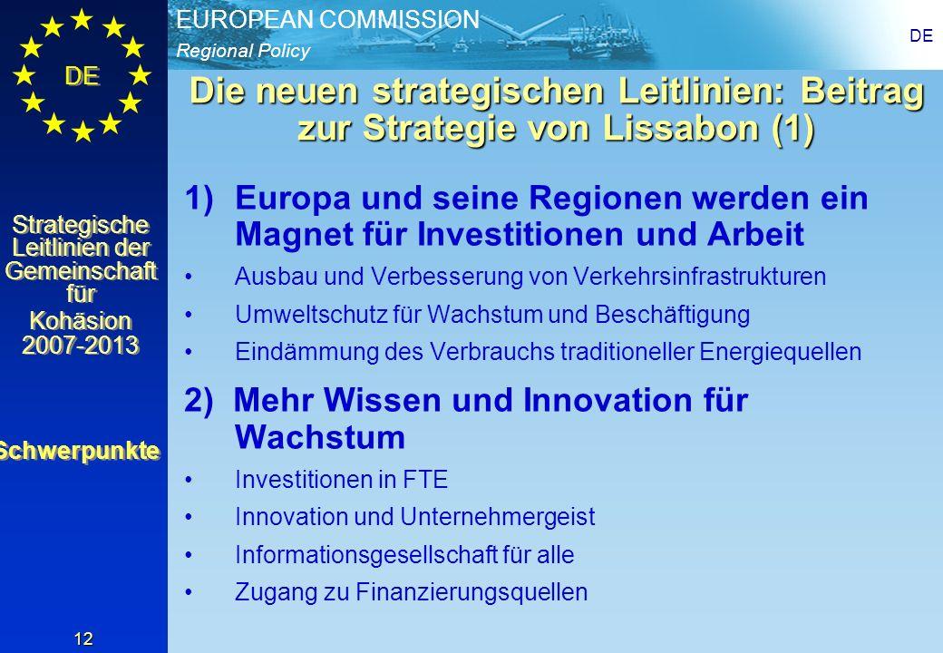 DEDie neuen strategischen Leitlinien: Beitrag zur Strategie von Lissabon (1)