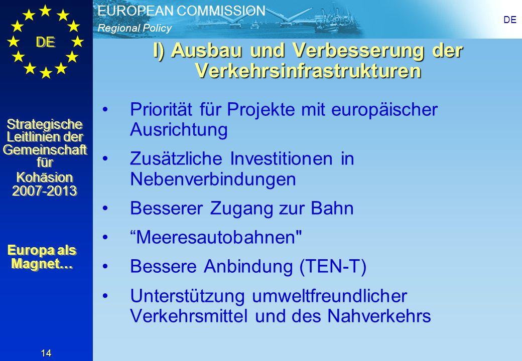 I) Ausbau und Verbesserung der Verkehrsinfrastrukturen